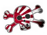 Pirate Style SKULL & CROSSBONES With JDM Style Rising Sun Flag Motif External Vinyl Car Sticker 128x84mm